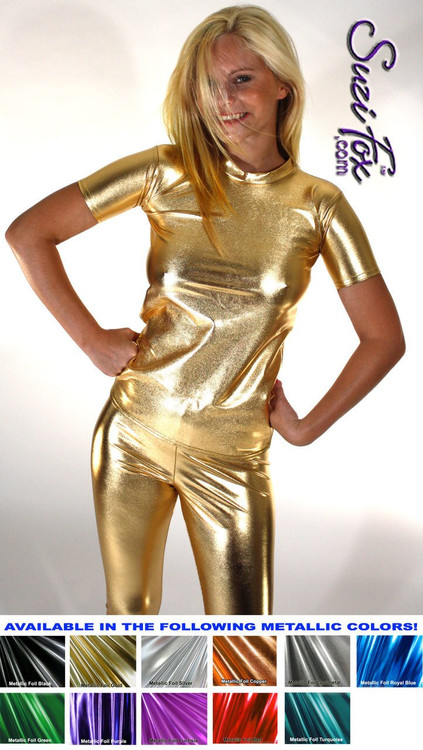 Womens T-Shirt in Gold Metallic Foil coated Spandex, custom made by Suzi Fox. Custom made to your measurements! Choose any fabric on this site! Available in gold, silver, copper, gunmetal, turquoise, Royal blue, red, green, purple, fuchsia, black faux leather/rubber. • Optional wrist zippers if you choose long sleeves. Made in the U.S.A.