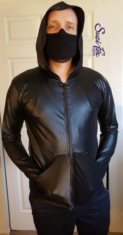 Mens custom Hoodie shown in Black Wetlook Spandex, custom made by Suzi Fox. Custom made to your measurements! • Choose any fabric on this site, including vinyl/PVC, metallic foil, metallic mystique, wetlook lycra Spandex, Milliskin Tricot Spandex. The vinyl/PVC is a latex alternative, great for people allergic to latex!