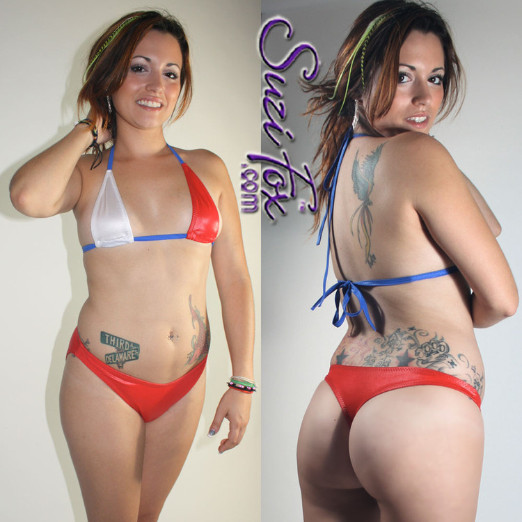 Womens Whale Tail (wide) T-back Thong Swim Suit bottom shown in Red Wetlook Spandex, custom made by Suzi Fox. • Custom made to your measurements. • Optional rear scrunch (gathered rear) • Optional lining • Available in any fabric on this site. • Top sold separately. • Made in the U.S.A.