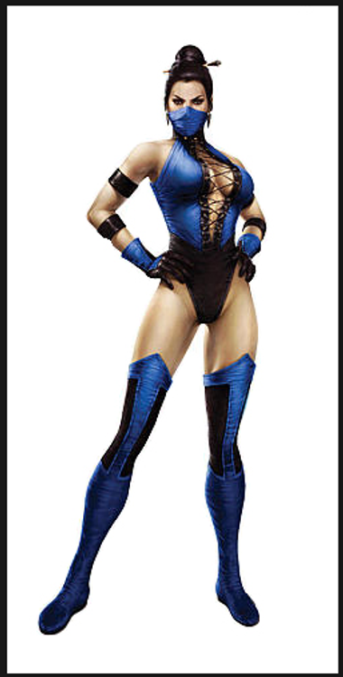 Kitana (Mortal Combat) Costume, custom made by Suzi Fox.  Costume includes leotard, 2 leg coverings (not the pointed ones in the picture, these are all one color to the ankle), 4 arm bands, bird finger gloves (one color), front grommet lacing, mask.  • You can choose any fabric on this site, including vinyl/PVC, Metallic Foil, Metallic Mystique, Wetlook Lycra Spandex, Milliskin Tricot Spandex. The vinyl/PVC is a latex alternative, great for people allergic to latex! • Optional Custom Sizing. • Plus size available. • Your choice of rears - French legs (Rio), Full, T-Back, or Cheeky. • Worldwide shipping. • Made in the U.S.A.
