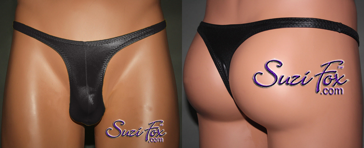 Mens Contoured Pouch Front, Wide Strap, T-Back thong for the well endowed man - shown in Black Wetlook Spandex, custom made by Suzi Fox. • Standard front height is 9 inches (22.9 cm). • Available in 4, 5, 6, 7, 8, 9, and 10 inch front heights. • Wear it as swimwear OR underwear! • Made in the U.S.A.