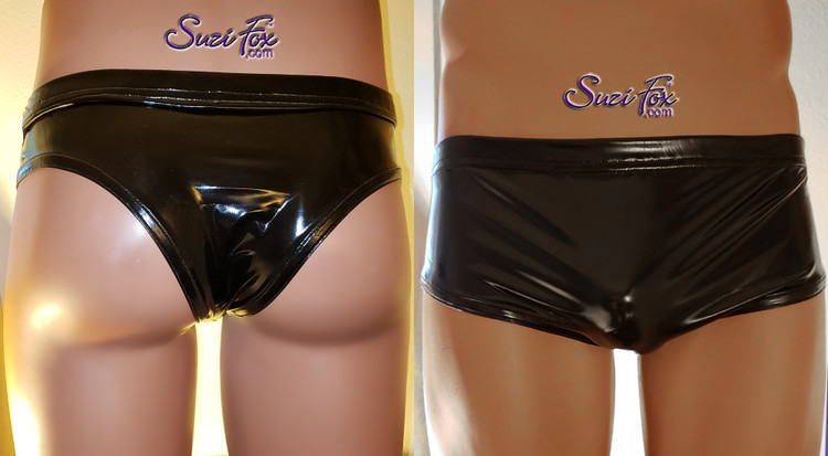 Men's cheeky rear, Smooth Front, Brief Bikini, custom made by Suzi Fox shown in Black stretch Vinyl/PVC coated spandex. Available in gloss black, white, red, navy blue, royal blue, turquoise, neon pink, light pink, fuchsia, purple, matte black (no shine), matte white (no shine). 1 inch elastic at the waist. Made in the U.S.A.