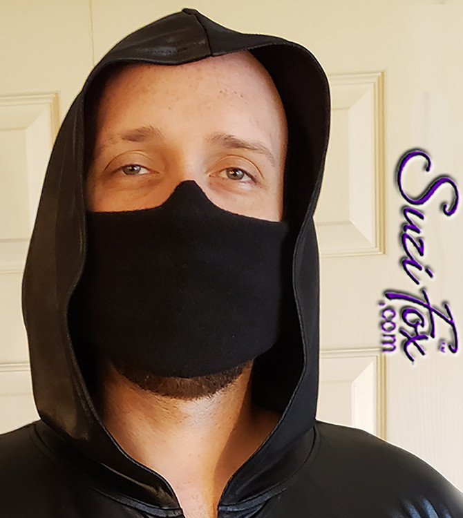 PPE Mask shown in black Wetlook spandex by Suzi Fox.
