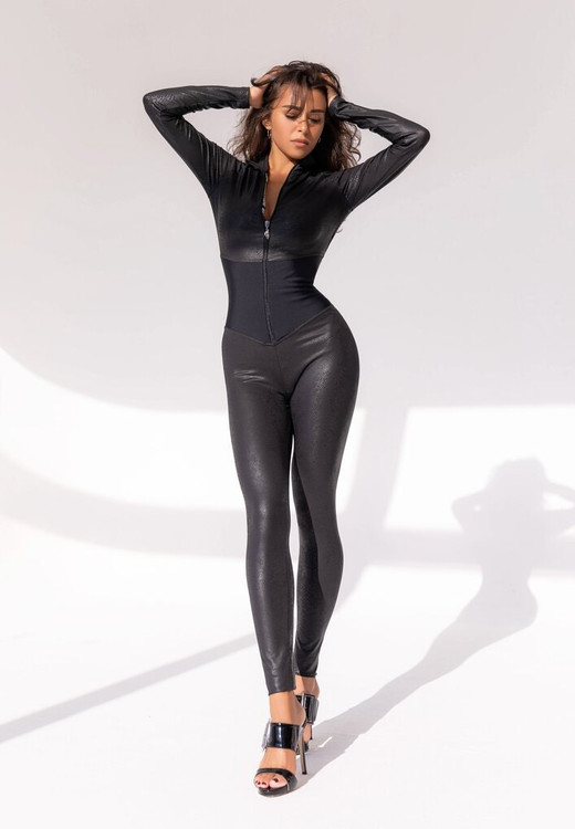 Custom front zipper catsuit with corset style inset at waist Custom made by Suzi Fox.