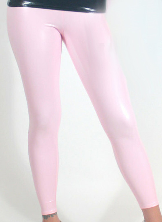 """CLEARANCE - MENS Light Pink Vinyl Leggings by Suzi Fox. Size: Small - Waist 28-29"""" Hip: 35"""" Front rise 10 inches, rear rise 12 inches (hiphugger) Inseam 30 inches Ankle 11 inches Brand new. All sales final. No returns, alterations or refunds."""