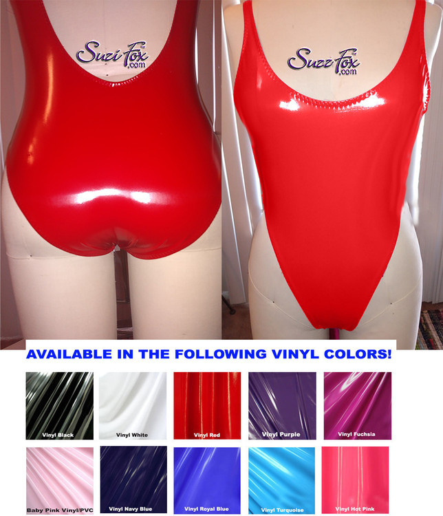 Womens One Piece Rio Swim Suit with 1/2 rear coverage shown in Red vinyl coated spandex, custom made by Suzi Fox. • Custom made to your measurements. • The Rio coverage rear creates a stunning and sexy suit. • Rear choices including scrunch butt. • Made in the U.S.A.