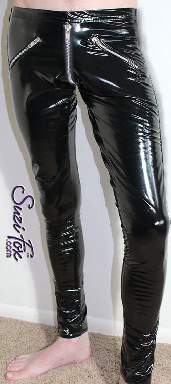 CLEARANCE XXS Unisex 5 zipper Leggings with crotch zipper in black gloss vinyl/pvc