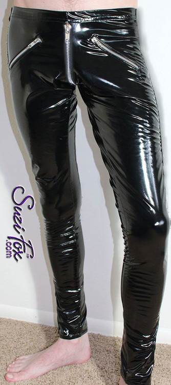 CLEARANCE Small Mens 5 zipper Leggings with crotch zipper in black gloss vinyl/pvc