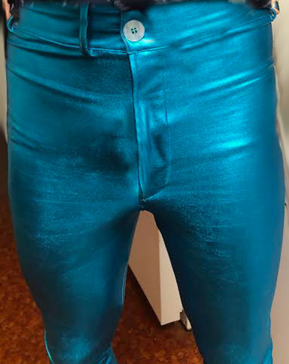 Mens Jean Style Pants in Turquoise Metallic Foil by Suzi Fox CLEARANCE