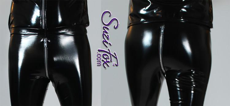 Womens Hiphugger Leggings in Gloss Black Vinyl/PVC Spandex, with 2-slider crotch zipper, custom made by Suzi Fox.