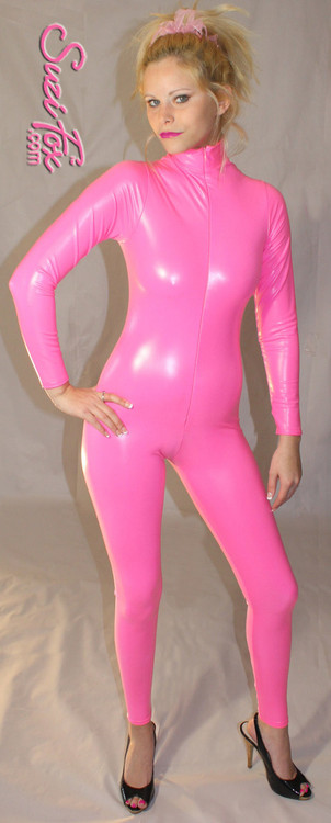 """Custom Catsuit by Suzi Fox shown in Neon Pink Gloss Vinyl coated Nylon Spandex.  You can order this Catsuit in almost any fabric on this site.  • Available in black, red, white, light pink, neon pink, fuchsia, purple, royal blue, navy blue, turquoise, black matte (no shine), white matte (no shine) stretch vinyl coated spandex. • Optional 1 or 2-slider crotch zipper, and """"Selene"""" from Underworld TS Brass zipper,. • Optional wrist zippers • Optional ankle zippers • Optional finger loops • Made in the U.S.A."""