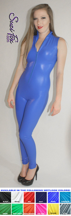"Sleeveless Catsuit custom made by Suzi Fox shown in Royal Blue Spandex.  • You can choose any fabric on this site, including vinyl/PVC, Metallic Foil, Metallic Mystique, Wetlook Lycra Spandex, Milliskin Tricot Spandex. The vinyl/PVC is a latex alternative, great for people allergic to latex! • Custom Sizing available. • Plus size available. • Optional 1 or 2-slider crotch zipper. • Optional ""Selene"" from Underworld TS zipper. • Optional ankle zippers. • Worldwide shipping. • Made in the U.S.A"