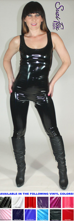 Custom Tank Style Catsuit by Suzi Fox shown in Gloss Black Vinyl/PVC Spandex.  You can order this Catsuit in almost any fabric on this site.  • Available in black, red, white, navy blue, royal blue, turquoise, purple, neon pink, light pink, fuchsia, matte black (no shine), matte white (no shine). This is a 4-way stretch fabric with a high gloss shine. • Optional ankle zippers. • Made in the U.S.A.