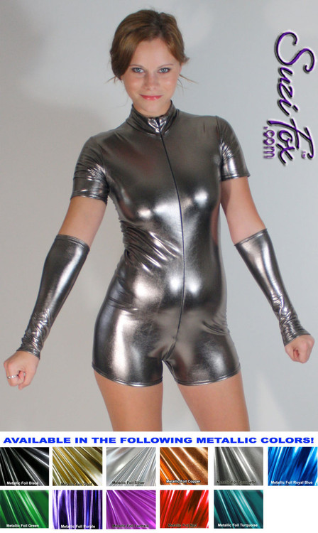 "Custom Romper Catsuit by Suzi Fox shown in Gun Metal metallic foil coated Nylon Spandex.  You can order this Romper in almost any fabric on this site.  • Available in gold, silver, copper, royal blue, purple, turquoise, red, green, fuchsia, gun metal, black faux leather/rubber Metallic foil coated spandex. • Standard sleeve length: 6 inches (15.2 cm) • Standard inseam: 2 inches (5.1 cm) • Your choice of front or back zipper (front zipper shown). • Optional 1 or 2-slider crotch zipper, and ""Selene"" from Underworld TS Brass zipper, or aluminum circular slider zipper like Catwoman comic characters. • Optional wrist zippers. • Optional rear patch pockets. • Made in the U.S.A."
