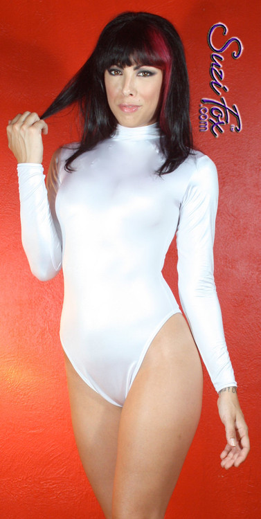 Custom Leotard by Suzi Fox shown in White Wet Look Lycra Spandex.  You can order this Leotard in almost any fabric on this site.  Shown with French Legs (Rio rear). • Your choice of rears - French legs (Rio), Cheeky, Full, or Thong. • Made in the U.S.A.