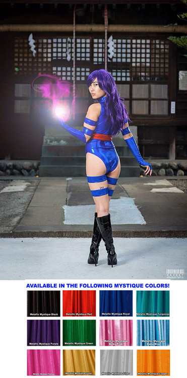 Custom Psylocke Costume shown in glittering Royal Blue Metallic Mystique, custom made by Suzi Fox.  You can order this costume in almost any fabric on this site.  Costume includes 4 arm bands, 4 leg garters, bird finger gloves, red sash. • Available in black, red, turquoise, green, purple, royal blue, hot pink/fuchsia, silver, copper, gold. This fabric is a 4-way stretch, with tiny metallic foil dots bonded to coated spandex. • Your choice of rears - French legs (Rio), Cheeky. • Made in the U.S.A. Photo of Cyd Cherie, Photographer: David-Gevert and Christina EM Mendoza