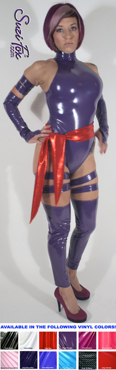 Custom Psylocke Costume shown in gloss Purple Vinyl/PVC, custom made by Suzi Fox.  You can order this costume in almost any fabric on this site.  Costume includes 4 arm bands, 4 leg garters, bird finger gloves, red sash. • Available in gloss black, white, red, neon pink, light pink, fuchsia, purple, royal blue, navy blue, turquoise; matte (no shine) black, matte (no shine) white. This fabric is a 4-way stretch, vinyl/PVC coated spandex. • Plus size available. • Your choice of rears - French legs (Rio), or Cheeky. • Made in the U.S.A.