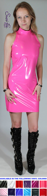 Open Shoulder Halter Mini Dress in Shiny Gloss Neon Pink Vinyl/PVC Spandex by Suzi Fox. Zipper in the back. Choose any fabric on this site! Available in black, white, red, navy blue, royal blue, turquoise, purple, fuchsia, neon pink, light pink, matte black (no shine), matte white (no shine) stretch vinyl/PVC coated nylon spandex. Made in the U.S.A.