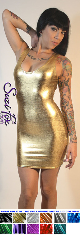 Tank Mini Dress in Gold Metallic Foil coated Spandex custom made by Suzi Fox. Choose any fabric on this site! Available in black metallic faux leather/rubber, gold, silver, copper, royal blue, purple, turquoise, red, green, fuchsia, gun metal metallic foil coated nylon spandex. • Optional 2-slider zipper going the length of the dress, front or back, unzip from the top of the bottom! Made in the U.S.A.