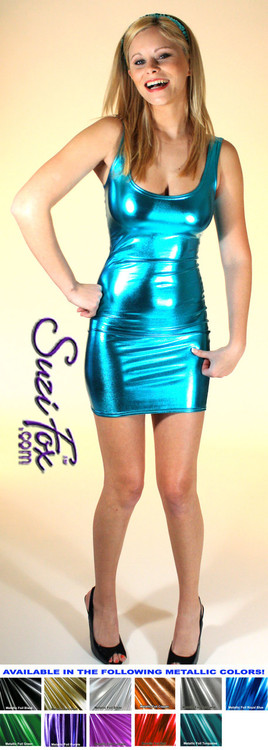 Tank Mini Dress in Turquoise Metallic Foil coated Spandex by Suzi Fox. Choose any fabric on this site! Available in black metallic faux leather/rubber, gold, silver, copper, royal blue, purple, turquoise, red, green, fuchsia, gun metal metallic foil coated nylon spandex. • Optional 2-slider zipper going the length of the dress, front or back, unzip from the top of the bottom! Made in the U.S.A.