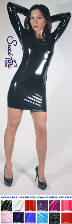 Scoop Neck, Long Sleeved Mini Dress in Shiny Gloss Black Vinyl/PVC Spandex, custom made by Suzi Fox. Choose any fabric on this site! Available in black, white, red, navy blue, royal blue, turquoise, purple, fuchsia, neon pink, light pink, matte black (no shine), matte white (no shine) stretch vinyl/PVC coated nylon spandex. • Optional wrist zippers. Made in the U.S.A.