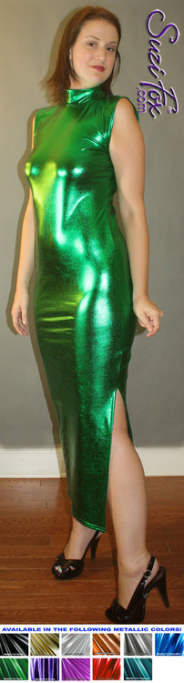 Turtleneck Maxi Dress in Green Metallic Foil coated Spandex, custom made by Suzi Fox. Zipper in the back. Choose any fabric on this site! Available in gold, silver, copper, gunmetal, turquoise, Royal blue, red, green, purple, fuchsia, black faux leather/rubber. • Optional bust cutout. • Optional long sleeves. • Optional wrist zippers. Made in the U.S.A.