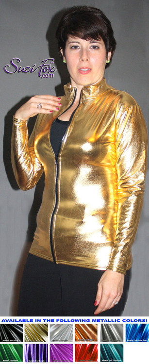 Womens Crop Jacket shown in Gold Metallic Foil coated, custom made by Suzi Fox. Custom made to your measurements! Choose any fabric on this site! Available in gold, silver, copper, gunmetal, turquoise, Royal blue, red, green, purple, fuchsia, black faux leather/rubber. • Choose the zipper. • Optional wrist zippers. Made in the U.S.A.