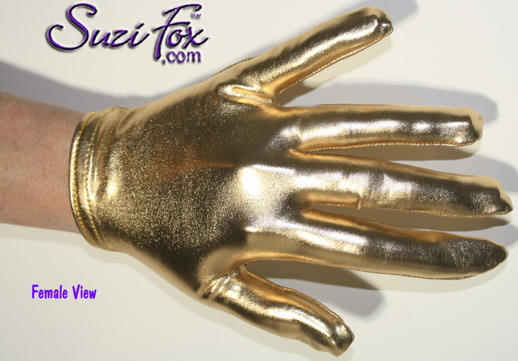 Custom Gloves shown in Gold Stretch Metallic Foil Coated Spandex by Suzi Fox. Please specify the length (measure from the tip of the longest finger to the top of the glove). Available in any fabric on this site. Available in Fuchsia, Gold, Silver, Copper, Gunmetal, Turquoise, Royal Blue, Purple, Red, Green, Black Metallic Stretch metallic foil coated Spandex. Made in the U.S.A.