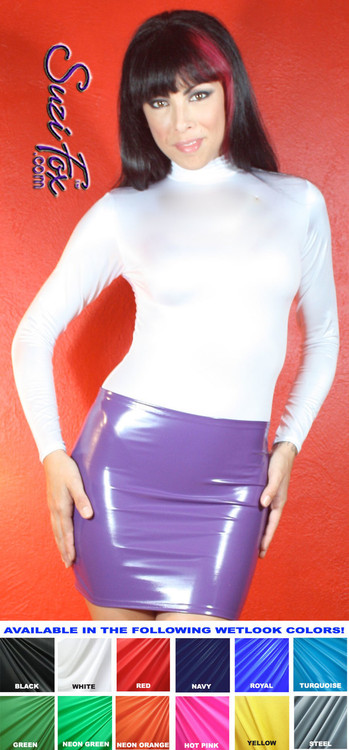 Womens Turtleneck, long sleeved Top shown in White Wet Look Lycra spandex, custom made by Suzi Fox. • Available in black, red, white, turquoise, navy blue, hot pink, lime green, green, yellow, royal blue, steel gray, neon orange, or any fabric on this site. This is a 4-way stretch fabric with a medium shine. • Optional wrist zippers • Made in the U.S.A.