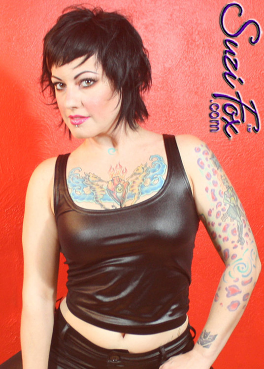 Tank Top shown in Black Wet Look Lycra Spandex, custom made by Suzi Fox. Available in any fabric on this site! Custom made to your measurements! Made in the U.S.A.