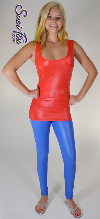 Tunic Length Tank Top shown in Red Wet Look Lycra Spandex, custom made by Suzi Fox. Custom made to your measurements! Available in any fabric on this site. Made in the U.S.A.