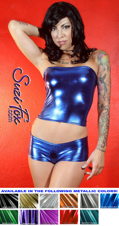Tube Top shown in Royal Blue Metallic Foil coated Spandex, custom made by Suzi Fox. Custom made to your measurements! Available in gold, silver, copper, gunmetal, turquoise, Royal blue, red, green, purple, fuchsia, black faux leather/rubber, and any other fabric on this site. Made in the U.S.A.