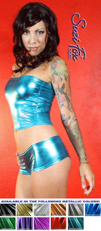 Tube Top shown in Turquoise Metallic Foil coated Spandex, custom made by Suzi Fox. Custom made to your measurements! Available in gold, silver, copper, gunmetal, turquoise, Royal blue, red, green, purple, fuchsia, black faux leather/rubber, and any other fabric on this site. Made in the U.S.A.