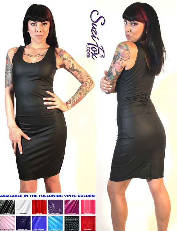 Pencil Skirt shown in matte Black (no shine) Vinyl/PVC Spandex, custom made by Suzi Fox. Custom made to your measurements! Available in black, white, red, navy blue, royal blue, turquoise, purple, Neon Pink, fuchsia, light pink, matte black (no shine), matte white (no shine), black 3D Prism, red 3D Prism, Turquoise 3D Prism, Baby Blue 3D Prism, Hot Pink 3D Prism, and any other fabric on this site. • Optional belt loops Made in the U.S.A.