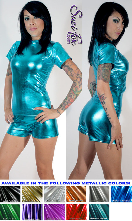 Women's Boy Shorts shown in Turquoise Metallic Foil coated Spandex, custom made by Suzi Fox. Custom made to your measurements! Available in gold, silver, copper, gunmetal, turquoise, Royal blue, red, green, purple, fuchsia, black faux leather/rubber, and any other fabric on this site. • 1 inch elastic at the waist. • 2 inch inseam is standard. • Optional 1 or 2-slider crotch zippers. • Optional rear patch pockets. • Optional Belt Loops. Made in the U.S.A.