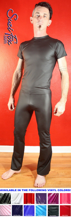 Mens Hiphugger Boot Cut Pants shown in Black Matte (no shine) Vinyl/PVC Spandex (Faux Leather), custom made by Suzi Fox. Custom made to your measurements! • Available in matte black (no shine), matte white (no shine), gloss black, white, red, navy blue, royal blue, turquoise, purple, Neon Pink, fuchsia, light pink, black 3D Prism, red 3D Prism, Turquoise 3D Prism, Baby Blue 3D Prism, Hot Pink 3D Prism Vinyl and any fabric on this site. • 1 inch no-roll elastic at the waist. • Optional 1 or 2-slider crotch zipper. • Choose your ankle size - tight ankles, jean cut, boot cut, or bellbottom. • Optional ankle zippers. • Optional belt loops. • Optional rear patch pockets. Made in the U.S.A.