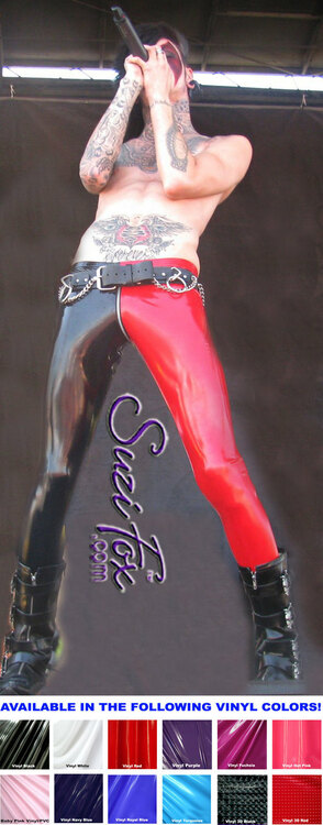 Mens Low Rise two tone Leggings shown in Gloss Black & Red Vinyl/PVC Spandex, custom made by Suzi Fox. Custom made to your measurements! • shown with optional 1 slider front zipper. • Available in black, white, red, navy blue, royal blue, turquoise, purple, Neon Pink, fuchsia, light pink, matte black (no shine), matte white (no shine), black 3D Prism, red 3D Prism, Turquoise 3D Prism, Baby Blue 3D Prism, Hot Pink 3D Prism Vinyl and any fabric on this site. • 1 inch no-roll elastic at the waist. • Optional 1 or 2-slider crotch zipper. • Choose your ankle size - tight ankles, jean cut, boot cut, or bellbottom. • Optional ankle zippers. • Optional belt loops. • Optional rear patch pockets. Made in the U.S.A. Photo of Jayy Von Monroe