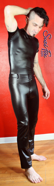 Mens Jean style Pants shown in Black Wetlook Lycra Spandex, custom made by Suzi Fox. Custom made to your measurements! • Fly front zipper and waistband. • Choose your ankle size - tight ankles, jean cut, boot cut, or bellbottom. • Optional ankle zippers. • Optional belt loops. • Optional rear patch pockets. Made in the U.S.A.
