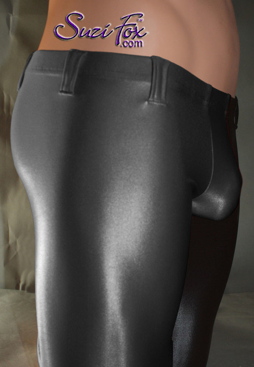 Pouch Front pants shown in Black Wetlook Lycra Spandex, custom made by Suzi Fox. Custom made to your measurements! Choose your pouch size. Low Rise shown. • Available in any fabric on this site. • 1 inch no-roll elastic at the waist. • Optional belt loops. • Optional rear patch pockets. • Your choice of ankle style - tight ankles, jean cut, boot cut, or bellbottom. Made in the U.S.A.