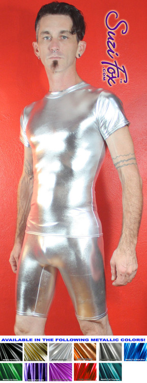 Mens Smooth Front Bike Length shorts shown in Silver Metallic Foil coated Spandex, custom made by Suzi Fox. Custom made to your measurements! • Available in gold, silver, copper, gunmetal, turquoise, Royal blue, red, green, purple, fuchsia, black faux leather/rubber Metallic Foil and any fabric on this site. • 1 inch no-roll elastic at the waist. • Optional belt loops. • Optional rear patch pockets. • Your choice of inseam and rise. 9 inch inseam is standard. • Made in the U.S.A.