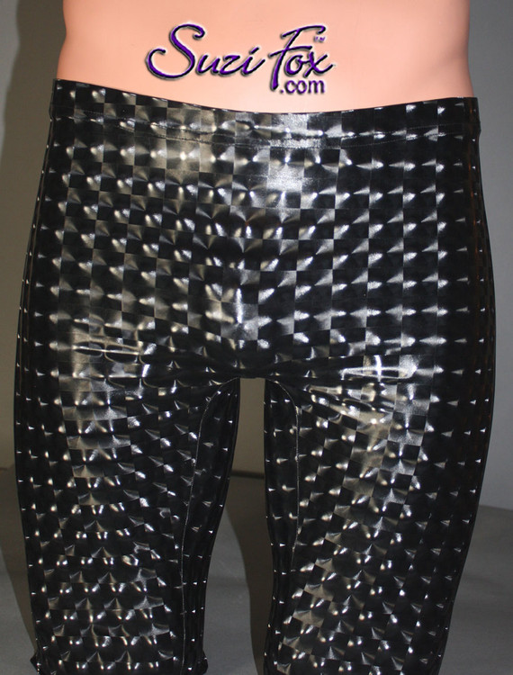 Mens Smooth Front Bike Length shorts shown in Black 3D Prism Vinyl/PVC Spandex, custom made by Suzi Fox. Custom made to your measurements! • Available in black 3D Prism, red 3D Prism, Turquoise 3D Prism, Baby Blue 3D Prism, Hot Pink 3D Prism, gloss black, white, red, navy blue, royal blue, turquoise, purple, Neon Pink, fuchsia, light pink, matte black (no shine), matte white (no shine), and any fabric on this site. • 1 inch no-roll elastic at the waist. • Optional belt loops. • Optional rear patch pockets. • Your choice of inseam and rise. 9 inch inseam is standard. • Made in the U.S.A.