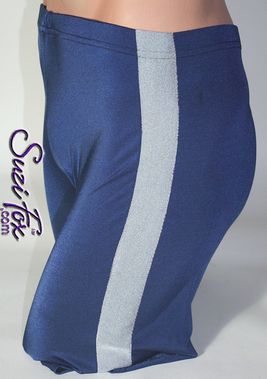 Men's Side Stripe, Bike Length shorts shown in Navy Blue Milliskin Tricot Spandex, custom made by Suzi Fox. Shown with steel gray milliskin stripe. Custom made to your measurements! • Available in black, white, red, royal blue, sky blue, turquoise, purple, green, neon green, hunter green, neon pink, neon orange, athletic gold, lemon yellow, steel gray Miilliskin Tricot spandex and any fabric on this site. • 1 inch no-roll elastic at the waist. • Optional belt loops. • Optional rear patch pockets. • Optional 1 or 2-slider crotch zipper. • Your choice of inseam. 9 inch inseam shown (bike length). • Made in the U.S.A.