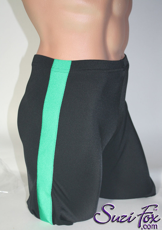 Mens Side Stripe, Bike Length shorts shown in Black and Green Milliskin Tricot Spandex, custom made by Suzi Fox. Custom made to your measurements! • Available in black, white, red, royal blue, sky blue, turquoise, purple, green, neon green, hunter green, neon pink, neon orange, athletic gold, lemon yellow, steel gray Miilliskin Tricot spandex and any fabric on this site. • 1 inch no-roll elastic at the waist. • Optional belt loops. • Optional rear patch pockets. • Optional 1 or 2-slider crotch zipper. • Your choice of inseam. 9 inch inseam shown (bike length). • Made in the U.S.A.