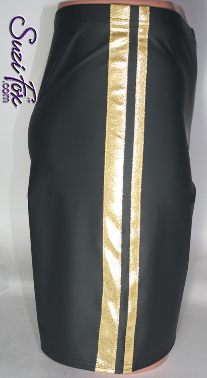 Mens Basketball or Board shorts shown in Black Matte (no shine) Vinyl/PVC with Gold Metallic foil Spandex stripes, custom made by Suzi Fox. • Available in black, white, red, navy blue, royal blue, turquoise, purple, Neon Pink, fuchsia, light pink, matte black (no shine), matte white (no shine), black 3D Prism, red 3D Prism, Turquoise 3D Prism, Baby Blue 3D Prism, Hot Pink 3D Prism, and any fabric on this site. • 1 inch no-roll elastic at the waist. • Optional belt loops. • Optional rear patch pockets. • Optional drawstring. • Made in the U.S.A.