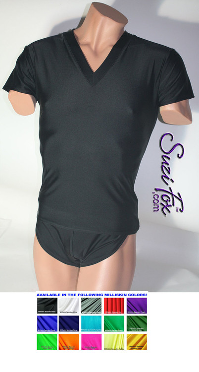 Mens V Neck Tee Shirt shown in Black Milliskin Tricot Spandex, custom made by Suzi Fox. • Available in black, white, red, royal blue, sky blue, turquoise, purple, green, neon green, hunter green, neon pink, neon orange, athletic gold, lemon yellow, steel gray Miilliskin Tricot spandex, and any fabric on this site. • Choose your sleeve length. • Give us your measurements for a custom fit! • Standard length is 24 inches (61 cm) for sizes XXXS-Medium; 27 inches (68.6 cm) for sizes Large and up. • Optional add extra length to the shirt. • Made in the U.S.A.