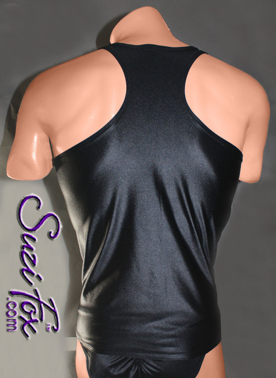 Mens Racerback Muscle Shirt shown in Black Wetlook Lycra Spandex, custom made by Suzi Fox. • Give us your measurements for a custom fit! • Standard length is 24 inches (61 cm) for sizes XXXS-Medium; 27 inches (68.6 cm) for sizes Large and up. • Optional add extra length to the shirt. • Made in the U.S.A.