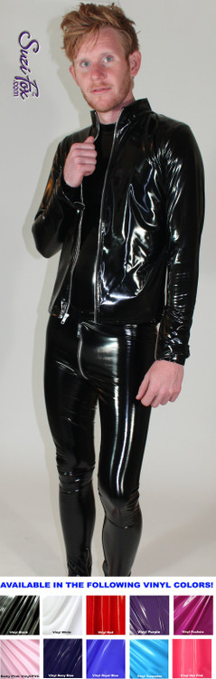 Mens Custom Jacket  in Gloss Black Vinyl/PVC Spandex, custom made by Suzi Fox. Custom made to your measurements!  • Choose any fabric on this site, including vinyl/PVC, metallic foil, metallic mystique, wetlook lycra Spandex, Milliskin Tricot Spandex. The vinyl/PVC is a latex alternative, great for people allergic to latex! • Plus size available. • Optional wrist zippers. • Worldwide shipping. • Made in the U.S.A.