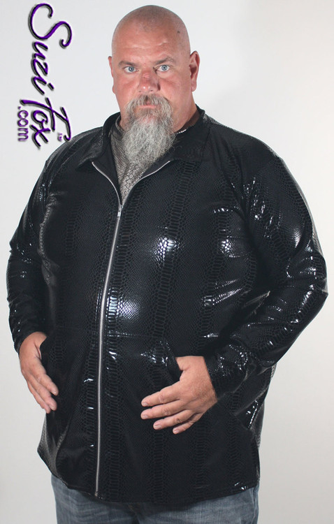 Men's Custom Jacket, shown in Black Metallic Snake Print, with wide front pockets, custom made by Suzi Fox. • Available in any fabric on this site. • Choose your sleeve length. • Give us your measurements for a custom fit! • Made in the U.S.A.