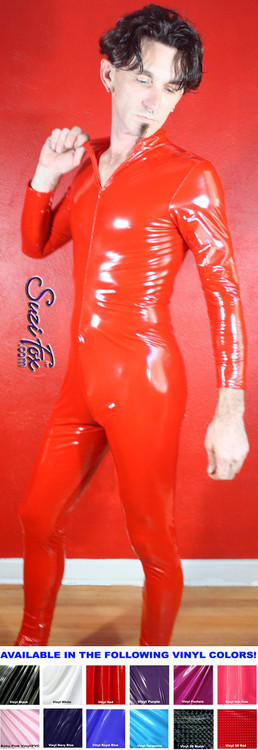 Mens Custom Catsuit by Suzi Fox shown in Red Gloss Vinyl/PVC coated Nylon Spandex, by Suzi Fox.  • Choose any fabric on this site, including vinyl/PVC, metallic foil, metallic mystique, wetlook lycra Spandex, Milliskin Tricot Spandex. • Optional Custom Sizing. • Plus size available. • Optional 1 or 2-slider crotch zipper. • Optional wrist zippers. • Optional ankle zippers. • Worldwide shipping. • Made in the U.S.A.