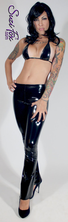 Teardrop String Bikini Top shown in gloss Black Vinyl/PVC Spandex, custom made by Suzi Fox. • One Size. 3 inches (7.6 cm) wide at widest point, 7 inches (17.8 cm) tall. • Available in black, white, red, navy blue, royal blue, turquoise, purple, Neon Pink, fuchsia, light pink, matte black (no shine), matte white (no shine), Vinyl/PVC, and any fabric on this site. • Pants sold separately. (A5 Boot Cut Pants shown) • Made in the U.S.A.